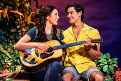 "Sarah Hinrichsen as Rachel and Chris Clark as Tully in Jimmy Buffett's ""Escape to Margaritaville"" (Photo: Matthew Murphy)"