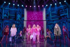 Pictured (L-R): Danielle Wade (Cady Heron), Megan Masako Haley (Gretchen Wieners), Mariah Rose Faith (Regina George), Jonalyn Saxer (Karen Smith), Mary Kate Morrissey (Janis Sarkisian), and the National Touring Company of Mean Girls Credit: © 2019 Joan Marcus